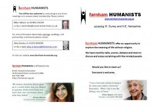 Leaflet Farnham Humanist 2013 Cover