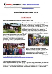 Oct 2014 Newsletter Front Cover